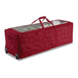 Classic Accessories - tree storage rolling duffle - When 'tis the season to find the trimmings, these clever and beautiful organizers will add comfort and joy. This complete holiday decoration storage line of protectively padded bags and totes keeps your ornaments organized, lights looped and trees tucked safely away.