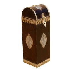 Sierra Living Concepts - Wood and Brass Wine Bottle Holder Gift Box - Keepsake boxes are popular collectibles, knick knacks, and storage spaces for small treasures.