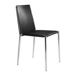 "Zuo Modern - Black Leatherette Dining Chair w Chrome Steel - This sleek, simple black leatherette dining chair set (featuring 2 pieces) is a perfect addition to both contemporary and classically themed dining spaces.  Because of its clean, unassuming design complimented by a deft chrome steel frame, you can enjoy its rich style and comfort in your private or professional dining areas. * Set of 4 Chairs. Black Finish. Leatherette Seat & Back. Chromed Steel Tube Legs. 35.5"" H x 17.5"" W x 18.5"" L. Seat: 18"" H"