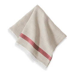 Couleur Nature - Khadhi Laundered Linen Napkins (Natural/Red Stripe), Set of 4 - Inspired by the easygoing comfort of traditional European homes, Laundered Linen has a classic, nostalgic feeling of old times. The linen is stonewashed for a finer, softer texture than traditional linen, with exceptional durability. Modest with a touch of old-world chic, these laundered linens are perfect for midday picnics, complementing vintage decor, or softening a modern dining room setting. Each 100% linen napkin is entirely handmade, yarn dyed, and washed by hand for a comforting texture. Easy care and practical: machine washable, ironing is optional.