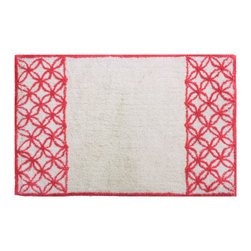Sherry Kline - Sherry Kline Romance Cotton 21x34-inch Coral Bath Rug - This bathroom rug is made of 100-percent cotton with a unique and beautiful coral color. A gorgeous trellis design adorns the sides of this comfortable cotton rug.