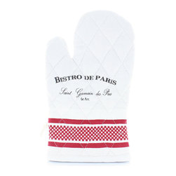 Bistro de Paris Oven Glove - Broad stripes at the cuff small checks and solids in true red on pure white give an easy-to-spot distinction to the surprisingly graceful Bistro de Paris Oven Glove. Simply diamond-quilted, the glove lets you grab pots and withdraw baking sheets in fully-covered safety; when you're not using it, the Bistro de Paris logo printed on the oven glove makes a chic display.