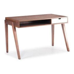 ZUO - Linea Desk - Sharp Scandinavian angles make the Linea Desk distinct. Made of solid fir with a walnut sheen, the bold white drawer pops. An open shelf below the desk holds a laptop and notebooks.