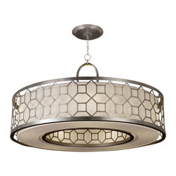Fine Art Lamps - Allegretto Silver Pendant, 780340GU - Put a new spin on your favorite space with this fresh fixture. The geometric motif in either a burnished gold-leaf or platinized silver-leaf finish makes an ideal frame for the white textured linen shade.
