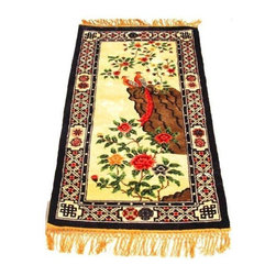 Pre-owned Vintage Chinese Handmade Silk Rug - A lovely handmade Chinese silk rug decorated with vibrant colors, birds and flowers. Gold tasseled fringe edge. This piece is suitable as wall art. Super fine soft to the touch silk.