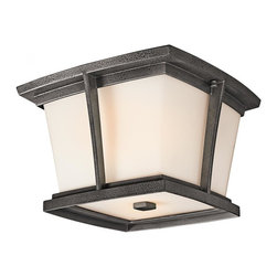 Joshua Marshal - Two Light Anvil Iron Outdoor Flush Mount - Two Light Anvil Iron Outdoor Flush Mount