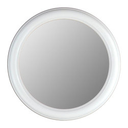 Hitchcock Butterfield - Round Beveled Glass Accent Mirror with Floral - Choose Size: 35 in. Dia.Fresh and pure, this fabulous white framed mirror will brighten up any room instantly.  The unique round shape features a smooth painted frame and beveled edge on the clear mirror plate.  Perfect for a little girl's room or shore house, this handsome mirror is proudly made in the USA, so your purchase helps support your neighbors here at home.  This lovely mirror is available in optional sizes for ultimate versatility. Includes four hooks for vertical or horizontal display. Made in the USA. 1 1/4 in. Bevel. Floral White finish. 23 in. Dia.. 29 in. Dia.. 35 in. Dia.