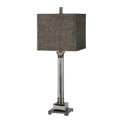 Ren-Wil - Ren-Wil LPT451 Pacy Lamp - A warm dark brown linen shade is the perfect finishing touch to the crystal and metal base of the Pacy lamp.