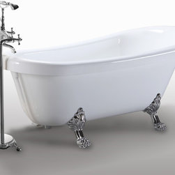 "HelixBath Delos Freestanding Acrylic Clawfoot Soaking Bathtub 67"" White - Delos, rated the most appealing modern clawfoot design from Helixbath. A clever mix of both metal and smooth solid surfaces with traditional and sweeping contemporary design. Faucet shown for display purpose only and sold separately. Designs created for bathing purists. The curves and lines are well conceived & uncomplicated. Helixbath�s well tailored soaking tubs provide an ergonomic comfortable spa experience. Featuring an easy to clean 3M Fade Resistant finish and stainless steel frame, Delos is the very definition of beautiful longevity."