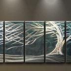 Matthew's Art Gallery - Metal Wall Art Modern Sculpture Floating White Tree on Blue - Name: White Tree on Blue
