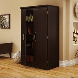 South Shore - Morgan Collection Storage Cabinet in Chocolate - A simple and stylish floor cabinet offering functional storage options. Perfect for the home office, bedroom, basement and even garage. Features: -Cabinet features adjustable shelving. Included is one large fixed shelf, one large adjustable shelf and two small adjustable shelves. -This practical floor cabinet can be used easily in almost any room of the house. -Plastic handles with a black finish . -Transitional Style. -Available in Chocolate (7259), Pure Black (7270). -Our products are made of EPP certified panels (Environmentally Preferred Product).. -5 year Warranty.