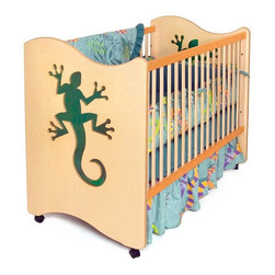 Room Magic - Room Magic 2-in-1 Lizard Crib - RM22-LL - Shop for Cribs from Hayneedle.com! Every sleep time becomes an adventure with the Room Magic 2-in-1 Lizard Crib. This creative design invites your little one to love his personal space and alone time making naptime and bedtime a happy experience. The green Plexiglas cutout lizard window inspires imaginative ideas and dreams in the minds of young growing adventurers. This playful detailing is adorably coupled with a soft symmetrical wave on the two ends that mirrors that of the toddler bed guide rail.Masterfully made using solid hardwood covered in veneer this bed comes in your choice of finish color for a look that suits you and your child's nursery to a tee. With three mattress levels that then transition into a handsome toddler bed with a convenient conversion kit this crib will keep your baby sleeping tight until he's ready for a true big-kid's bed. The four casters help you move it easily around the nursery while two of the casters can be locked into place for safe stable slumber. The clever design also means that it assembles in almost no time at all.About Room MagicRoom Magic is a new face in the children's furniture and accessories industries but they've already made quite an impression with their whimsical designs. Using brightly colored and natural-finished birch wood to craft unique lively pieces Room Magic captured the prestigious American Association of Furniture Designers Pinnacle Award. Room Magic furniture is designed with a keen eye for detail and close adherence to quality standards. Bright enchanting colors on natural birch wood create magical environments while lacquered coatings highlight the wood grain and ensure lasting beauty.