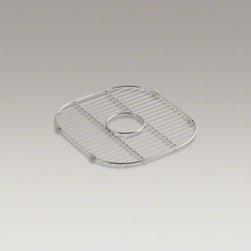 """KOHLER - KOHLER Stainless steel sink rack, 13-1/2"""" x 14-7/8"""" for K-3356 Undertone(R) and - Designed to sit inside the right-hand basin of K-3356 Undertone and K-3356-HCF Undertone Preserve XL/medium double-bowl sinks, this stainless-steel rack helps safeguard your fragile dishes and provides a flat work surface in the sink bowl. Innovative whee"""