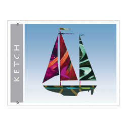 Ketch sailboat giclee art print for home, office, childrens or nursery decor - Ketch Sailboat giclee art print. Nautical colorful sail boat art decor for beach home, blue wall art print from colorful painted paper collage artwork gradient blue sky background for home, office, bueiness childrens room or nursery decor. Great gift for sailors!