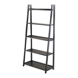 "Winsome Wood - Winsome Wood 20513 Adam 5-Tier A-Frame Shelf in Black - Adam 5-Tier  a frame Ladder Shelf is attractive and free standing. Use as  a bookshelf or display shelf. 5 different shelves various shelf size. Overall shelf size is 27.87""W x 12.99""D x 58.03""H. Combine with Adam desk and corner shelf to create  a complete look. All five shelves are 26.30""W. 1st top shelf depth is 4.19""D, 2nd top 6.06""D, Middle 7.91""D, 4th Shelf 9.78""D and 5th Bottom Shelf 11.65"". There is 12"" clearance between each shelf. Made with combination of solid and composite wood in black finish. Assembly required"