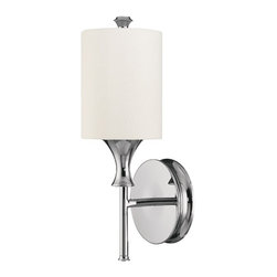 Capital Lighting - Capital Lighting Studio Transitional Wall Sconce X-984-NP1711 - From the Studio Collection, this Capital Lighting wall sconce features classic elements and modern finishes that give it a refined, elegant appeal. The classic torch style design has been accentuated by a mirror-like Polished Nickel finish. The contrasting tones of the cylindrical decorative white fabric shade adds to the appeal.