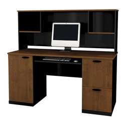 Bestar - Bestar Hampton Office Computer Desk with Hutch in Tuscany Brown and Black - Bestar - Computer Desks - 694503163 - Transform your work environment into your very own custom office set-up with our Hampton Collection. It can either be used as a single unit or part of a complex office design to customize your work area exactly to your specifications. offering many possible configurations it makes the perfect addition to your home or small office.