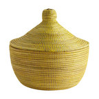 African Handmade Yellow Warming Basket - Our Yellow Warming Basket adds color (and storage space) to any shelf or table.