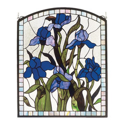 "Meyda Tiffany - 20""W X 24""H Iris Stained Glass Window - Meyda Tiffany's original Iris design celebrates the beauty of the flower named for Juno's messenger who was turned into a rainbow. Purple Iris flowers and Spring Green leaves adorn a Clear Frost background banded in Sky Blue. Handcrafted of 251 pieces of stained art glass utilizing the copper foil construction process. Mounting bracket and jack chain included."