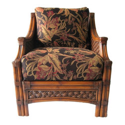 Spice Island Wicker - Wicker Lounge Chair (Nara Marsala Spun - All Weather) - Fabric: Nara Marsala Spun (All Weather)Made from wicker. Brown wash finish. Includes cushions. No assembly required. 30.75 in. W x 35 in. D x 35 in. H (60 lbs.)