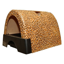 Kittyagogo - Designer Cat Litter Box with New Leopard Print Cover - The Kitty A Go-Go Cat Litter Box with New Leopard Print Cover is designed for cats who believe in going in style. The striking designs offer an alternative to those bland looking plain plastic litter boxes. Spice up your kitty's life with a fun and practical litter box design. Features: -Arrives fully assembled. Just add litter.-Product Type: Standard Litter Box.-Color: Leopard.-Distressed: No.-Powder Coated Finish: No.-Gloss Finish: Yes.-Material: Plastic.-Number of Items Included: 4.-Pieces Included: Pullout litter drawer, hooded enclosure, clear hangable door, hand scoop.-Non Toxic: Yes.-Weather Resistant: Yes.-Water Resistant: Yes -Water Resistant Details: Solid, plastic design is watertight..-Scratch Resistant: No.-Stain Resistant: Yes.-Odor Resistant: No.-Non-Skid: Yes.-Fire Resistant: No.-Leakproof: Yes.-Antimicrobial: No.-Designer: Yes.-Enclosed / Hooded: Yes -Locking Lid: Yes.-Safety Lid: Yes..-Door Cutout: Yes.-Odor Filter: No.-Starter Kit: Yes.-Multi Pack: No.-Shape: Round.-Capacity: 720 cubic inches.-Handles: Yes.-Built-In Scoop: Yes.-Sifting Pan: No.-Rim: Yes.-Outdoor Use: Yes.-Foldable: No.-Plug-In: No.-Accessory Storage: Yes.-Suitable for Multiple Cats: Yes.-Battery Powered: No.-Weight Capacity: 25.-Commercial Use: Yes.-Recycled Content: No.-Eco-Friendly: No.-Product Care: Wipe clean with a sponge or cloth. Use Windex of mild cleaning sprays.Specifications: -Cats International Approved: No.-BPA Free: No.-CPSIA or CPSC Compliant: Yes.-General Conformity Certificate: No.-Greenguard Certified: No.Dimensions: -Overall Height - Top to Bottom: 15.87.-Overall Width - Side to Side: 18.-Overall Depth - Front to Back: 21.46.-Interior Height - Top to Bottom: 8.-Interior Width - Side to Side: 12.-Interior Depth - Front to Back: 21.-Door: -Door Height - Top to Bottom: 8.-Door Width - Side to Side: 12.-Height to Door - Front to Back: 4..-Overall Product Weight: 17.Assembly: -Assembly Required: No.-