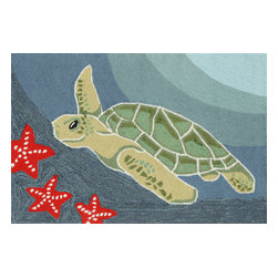 """Trans-Ocean Inc - Sea Turtle Ocean 30"""" x 48"""" Indoor/Outdoor Rug - Richly blended colors add vitality and sophistication to playful novelty designs. Lightweight loosely tufted Indoor Outdoor rugs made of synthetic materials in China and UV stabilized to resist fading. These whimsical rugs are sure to liven up any indoor or outdoor space, and their easy care and durability make them ideal for kitchens, bathrooms, and porches; Primary color: Ocean;"""