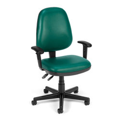 OFM - OFM Straton Series Computer Task Chair with Arms in Teal - OFM - Office Chairs - 119VAMAA602 - OFM's vinyl Straton Series Task Chair with Arms 119-VAM-AA offers a perfect balance of support and function. This chair features a choice of stylish colors in anti-microbial/anti-bacterial vinyl upholstery for consistent cleanliness in public and health c