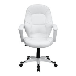 Flash Furniture - Mid-Back White Leather Executive Office Chair - Set your own trend with this ultra-modern White Leather Executive Office Chair by Flash Furniture. Chair has a comfortably padded seat and attractive white nylon base with black caps that prevent feet from slipping. Get the upgrade you deserve with this executive chair!