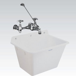 Mustee - Mustee Utilatub 16 Single Basin Wall Mount Utility Sink - 16 - Shop for Commercial Laundry and Utility from Hayneedle.com! Whether it's at home or at work you're serious about getting the cleaning done and the Mustee Utilatub 16 Single Basin Wall Mount Utility Sink is the kind of sink you need to keep that squeaky clean look that you love. This single-piece wall-mounted sink is crafted from Mustee's Co-Polypure resin with an integrally molded drain-in stopper. The deep tapered bottom of this 12-gallon capacity sink makes it easy to clean and it's just as easy to install to a standard 1-1/2-inch P- or S-trap. The wall-mounting bracket is also molded right into the body and includes mildew-resistant components so nothing's getting funky while everything else gets clean. About E.L. Mustee & SonsSide-arm water heaters hot plates and incinerators were all the rage when Emil Lawrence founded his innovative company back in 1932 and today E.L. Mustee & Sons keep that spirit of customer-satisfying innovation alive with their full line of products that stress functionality durability and dependability. The full line of E.L. Mustee & Sons products include DURAWALL shower and bathtub walls DURASTALL shower stalls TOPAZ bathtubs DURABASE shower floors STYLEMATE shower enclosures UTILATUB and UTILATWIN laundry tubs DURATUB laundry cabinets VECTOR and DURASTONE utility sinks DURASTONE mop service basins DURAPAN washer and water heater pans; and CareGiver easy-access showers safety grab bars and fold-down shower seats. The team at E.L. Mustee & Sons goes to great lengths to make sure that each product that leaves their U.S.-based production facility is the kind of long-lasting product that you'll use often.