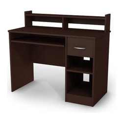 """South Shore - Axess Small Desk - This Axess desk is the perfect answer to organizing clutter in your child's room. It features a compact design yet includes space for everything needed for schoolwork and projects. A low hutch offers shelving for books or keepsakes, and the spacious desktop offers plenty of room to spread out homework or house a laptop. Underneath the desktop, a shelf keeps a computer keyboard ready for use until it's needed. Flexible storage options include a drawer and 2 open shelves that offer room for a computer, writing supplies and paper. Features: -Contemporary style.-Open back to facilitate cable management.-Suitable for both desktop and portable computers.-One sliding keyboard/mouse tray with metal slides and safety stops.-Metal handle.-EPP (Environmentally Preferred Product) certified.-Engineered wood construction.-Axess collection.-Desk Type: Computer Desk.-Gloss Finish: No.-Non-Toxic: Yes.-Water Resistant: No.-Style: Contemporary.-Distressed: No.-Collection: Axess.-Eco-Friendly: Yes.-Cable Management: Yes.-Keyboard Tray: Yes.-Drawers Included: Yes -Safety Stop : Yes..-Jewelry Tray: No.-Cabinets Included: No.-Chair Included: No.-Treadmill Included: No.-Cork Back Panel: No.-Built In Outlet: No.-Built In Surge Protector: No.-Light Included: No.-Application: Home Office.-Commercial Use: No.-Recycled Content: Yes -Remanufactured/Refurbished : No..Specifications: -FSC Certified: Yes.-EPP Certified: Yes.-CARB Compliant: Yes.-ISTA 3A Certified: Yes.Dimensions: -Overall Height - Top to Bottom: 36.75"""".-Overall Width - Side to Side: 42"""".-Overall Depth - Front to Back: 20"""".-Bridge: No.-Cabinet: No.-Drawer: Yes.-Shelving: Yes.-Seat: No.-Legs: No.-Overall Product Weight: 81 lbs.Assembly: -Assembly required.-Assembly Required: Yes.-Tools Needed: Hammer / Screwdriver.-Additional Parts Required: No.Warranty: -Manufacturer provides five year warranty.-Product Warranty: 5 years."""