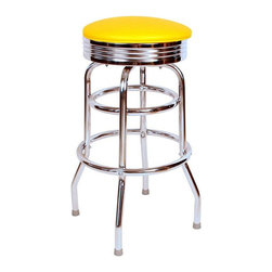 "Richardson Seating - Richardson Seating Retro 1950s 30"" Chrome Swivel Bar Stool with Yellow Seat - Richardson Seating - Bar Stools - 1971YEL - Richardson Seating Floridian's Floridian collection ships within 2 business days as quick ship items. The 50's retro look bar stool collection is back with added comfort and stylish design. The Floridian collection are commercial bar stools made in the USA and equally ideal for residential use."