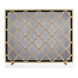Z Gallerie - Meridian Fireplace Screen - With a quatrefoil inspired geometric design, our Meridian Fire Screen brings design distinction to your hearth.  Crafted out of iron, a geometric repeat pattern adorns a mesh screen to serve as a decorative shield against open flames and flying embers. Adding modern detailing, this piece has been finished in a lustrous gold hue. Minor assmebly required.  Exclusive to Z Gallerie.