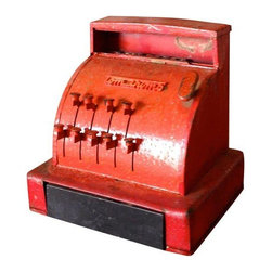Used Vintage Toy Cash Register - Cha Ching! Present day cash registers just aren't the same. Straight out of the 1960s comes this darling vintage Tom Thumb toy cash register made by Western Stamping Corporation out of Jackson, Mississippi. Many of the keys still work but not all of the numbers pop up correctly. The cash drawer no longer dings and has to be opened mannually. The Children's handmade dollars are included - the scrapes of paper used to create the money are dated 1966. The play money we found inside the drawer was one of those unexpected little surprises that make picking so much fun! This toy has been well loved and this is probably best suited as an accessory.