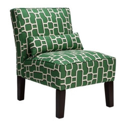 Z Gallerie - Bailey Accent Chair - Geometric - Our Bailey Chair upholstered in a emerald and white geometric pattern will provide comfort but, more importantly, it provides a statement of fashion. The armless slipper chair covered in 100% cotton is cushioned with high-density foam padding. The lumbar accent pillow adds comfort and style. The scale of the chair makes it perfect for bedrooms or as pairs without forfeiting a lot of space.