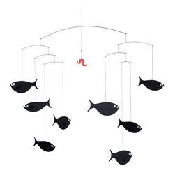 Flensted Mobiles - Shoal of Fish Mobile - Move to the head of the class with this school of fish. A bright red hook beckons from above, but never fear — they're too smart to take the bait. Watch them swim with the faintest puff of air.