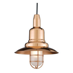 """THE SHIPMATE COPPER & BRASS CORD-HUNG CEILING LIGHT - 12"""" Shipmate shown in 44-Polished Copper with Frost Glass & Black Cord"""