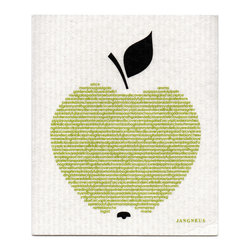 Jangneus - Swedish Dishcloth - Big Green Apple - THE SWEDISH ECO-FRIENDLY DISHCLOTH: The dry sponge cloth was invented in 1949 by the Swedish engineer Curt Lindquist, who discovered that a mixture of natural cellulose (wood pulp) and cotton can absorb an incredible 15 times its own weight in water.