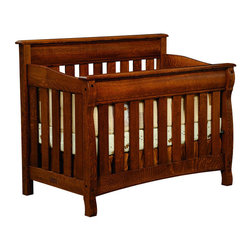 Chelsea Home Furniture - Chelsea Home Cambridge Crib in Asbury Brown Stain - As children go through stages as they grow  so should their furniture. The Cambridge Convertible Crib Set  shown in White Quartersawn Oak and Asbury Brown stain  is a solid wood 3-stage bed system that is constructed with quality and durability to transition any newborn into adulthood with simplistic sophistication. The curved slats and feet compliment the stream line sides of crib. This CPSC 16 CFR 1219 & 1220 compliant convertible piece is complete with guard rail and 3-level mattress support  and simple transition instructions to keep your child resting easy and comfortable.
