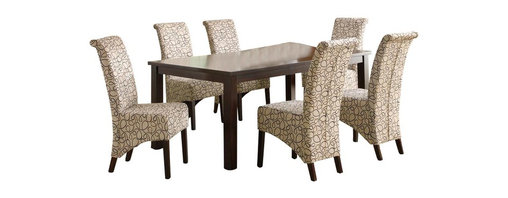 Monarch Specialties - Monarch Specialties 7-Piece 78x40 Dining Room Set with Swirl Parson Chairs - This dining table offers rich design and transitional styling that invites a relaxed setting into your home. Finished in a dark espresso, this clean lined rectangular shaped dining table will create the perfect look for intimate dinners or casual get togethers. This piece features thick block legs and an extension leaf to accommodate all your friends. What's included: Dining Table (1), Side Chair (6).