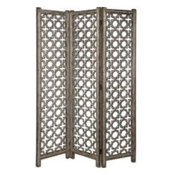 Uttermost - Uttermost 24181 Quatrefoil Burnished Floor Screen - This decorative floor screen features an open, scroll work design with a finish of burnished aluminum with darkened gray undertones.