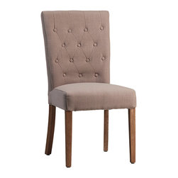 Derby Dining Chair, Medium Wood - Modern and elegant, the Derby dining chair is a lovely choice for the contemporary dining space. Light, chic button-tufting graces the upholstered back and is accented with vertical stitching for an updated, geometric look. Sleek wood legs add to the chair's streamlined, armless design. The upholstered seat is well-cushioned and comfortable, creating a place where guests are sure to linger in conversation long after the meal has finished.