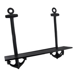 Black Metal Nautical Anchor Wall Mounted Shelf - This nautical anchor wall shelf adds a charming accent to any room with a nautical theme. Made of metal, with a wooden shelf, it measures 21 inches tall, 24 inches long, and 5 1/2 inches deep. It mounts easily to your wall with 2 nails or screws.