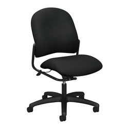 Hon - Alaris Mid-Back Armless Chair - Is your office running like a well-oiled machine? Keep rolling along with the help of this adjustable height task chair. It features a padded seat and back, and rolls along on sturdy casters to keep your pit crew happy and working fast. Start your engines!