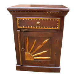 Sierra Living Concepts - Solid Wood Bedside Painted End Table Nightstand - Gorgeous Solid Indian Rosewood Night Stand/Accent Table one cabinet and one drawer.