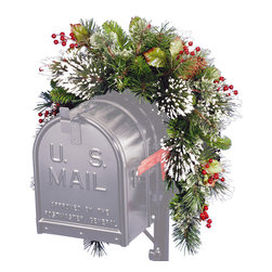 National Tree Company - 3-foot Wintry Pine Collection Mailbox Swag - This 3-foot Wintry Pine Collection Mailbox Swag is trimmed with red berries,cones and snowflakes for a festive winter look. Decorate your mailbox with this holiday swag and even add your own lights (sold separately).