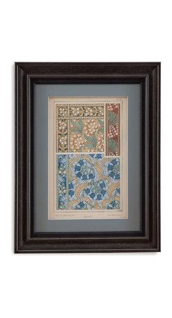 Bassett Mirror - Bassett Mirror Framed Under Glass Art, Nouveau Floral Design V - Nouveau Floral Design V