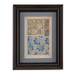 Bassett Mirror - Bassett Mirror Framed Under Glass Art, Nouveau Floral Design V - Nouveau Floral Design V