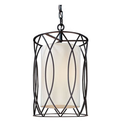 Troy Lighting - Troy Lighting F1284 Sausalito 4 Light Pendant with Fabric Shade - No other pendant lamp combines deco inspiration and contemporary flair the way the Sausalito 4 Bulb Pendant does. With a stripped, minimalist frame crafted by hand from wrought iron in deep bronze and silver gold finishes, it creates depth and atmosphere in nearly any room. The ideal size for entryways and foyer spaces, it�s a great way to emphasize a glamorous high ceiling.Being a Leader in an Industry requires many attributes. Troy Lighting's passion for quality, design, value and service lead the way. Their Team of Lighting Professionals are serious about producing awesome lighting and having a strong, well-run company. Hand-Forged Iron, Hand Applied Finishes, Glass and Shades that compliment the style are primary ingredients in Troy Lighting products. They take great pride in their engineering and inspection standards that ensure a quality product. Troy Lighting is committed to providing quality high styled products, at reasonable prices, backed with the highest standard of service.Features: