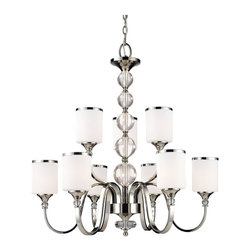 Z-Lite - Z-Lite Cosmopolitan Chandelier X-HC-9-703 - For a cutting edge modern fixture, look no further than this nine light chandelier. Milk white shades are complimented with chrome bands, surrounding the centerpiece of cascading crystal spheres. This chandelier is sure to be great addition to any contemporary space.