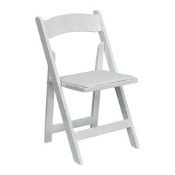 Flash Furniture - Hercules Folding Chair in White - 0.5 in. thick foam padded. White vinyl upholstered seat. Joints secured with nails and glue. Warranty: 2 year limited. Made from beech wood. White polyurethane paint with clear lacquer varnish. No assembly required. Seat: 15.25 in. W x 14.25 in. D. Overall: 18.5 in. W x 17.75 in. D x 30.75 in. H (40 lbs.). Weight Capacity: 250 lbs.